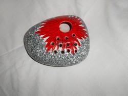 Jelzett iparművészeti  ikebanás kavics forma-  kerámia tál.