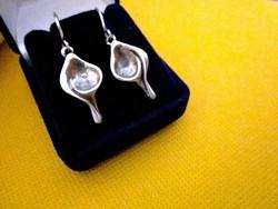 Ezüst kézműves orsó alakú DESIGN fülbevaló