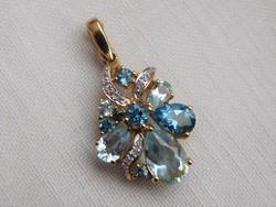 Rengeteg gyémánt-Akvamarin topáz 585/14 kr.arany medál:ÚJ