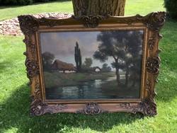 Gyönyörű régi blondel keretes szignós olajvászon festmény 90x70cm