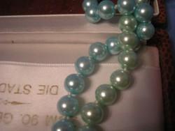 Türkiz kék+zöld 73 cm színátmenetes dupla soros gyöngysor ritkaság