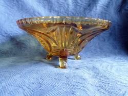 Antik 3 lábú sárga üveg kínáló, 21,5 cm