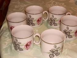 Zsolnay teás csésze 6 darab rózsás