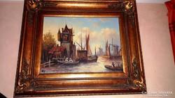 Sürgősen ELADÓ!!!!   NP.   antik festmény, GYÖNYÖRŰ antik keretben!!!   LEÁRAZVA!!!!