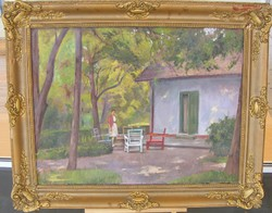 Miklós Bánovszky in the garden / with frame 79 * 99cm weekly sale2 /