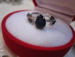 Zafír ezüst gyűrű, fonódó virág  - fehér topáz, fehérarany
