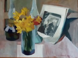 Horváth János, Nárciszos asztali virágcsendélet, olajfestmény