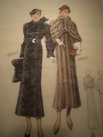 Színes francia litográfia 1930-as divat lap 4.
