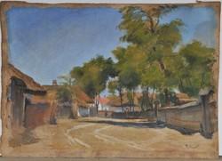 Meilinger Dezső (1892-1960): Falusi utca, akvarell