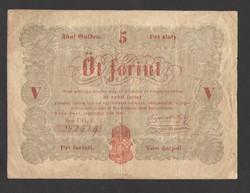 5 forint 1848.  PIROS!!  SZÉP BANKJEGY!!