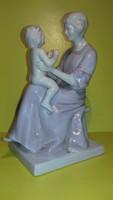 Gebrüder Heubach - Tilly von Waldenfels - Anya gyermekével porcelán figura 1910- ből