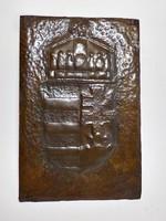 Kézzel kalapált - vésett vörösréz Magyar címer falidísz