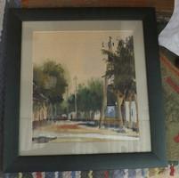 "A bajai Korsós utca "" gyönyörű akvarell"