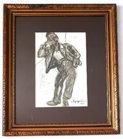 Nyergesi János - Merengés 1920 akvarell 43x30cm +keretezve