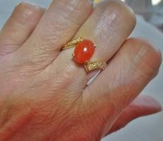 Szép antik brill és karneol 14kt arany gyűrű