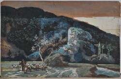 Ismeretlen művész: Nyáj a pásztorral, antik gouache, 18/19. sz.