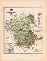 Komárom megye térkép 1888 (2), vármegye, atlasz, Kogutowicz Manó, 44 x 56 cm, Gönczy Pál