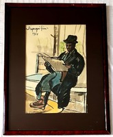 Nyergesi János - A padon 1961 akvarell 43x30cm