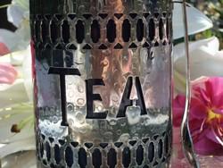 Ezüstözött teadoboz  ,pohár