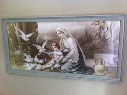 Szent kép, vintage keretben, nagy méret!