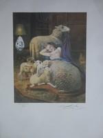 Eredeti Salvador Dali: Szelíd mint a bárányok