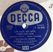 """DECCA 10"""" 78rpm sellacklemez német gyártmányú, papír védőzacskójában No:D6620, D6621"""