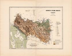 Modrus - Fiume megye térkép 1890, vármegye, régi, atlasz, eredeti, Kogutowicz Manó, Gönczy Pál