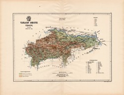 Varasd megye térkép 1890, vármegye, régi, atlasz, eredeti, Kogutowicz Manó, Gönczy Pál