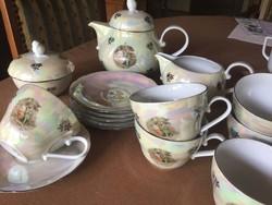 Kahla porcelán madonnás teás készlet, hibátlan, 6 személyes