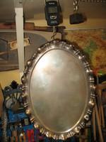 Ezüst tál tálca kínáló 790 gr 800-as 46x33,5x2 cm 1867-1937 ötágú lóherés Dianás fémjel