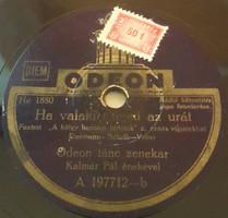"""ODEON 10""""78 rpm sellacklemez magyar gyártású fényűzési  forgalmi adóbélyeggel, No:Ho1880,Ho1878"""