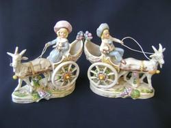 Gieshubel német porcelán páros fiú és lány, kecske fogattal, igen ritka