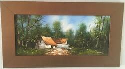 Pancza Ildikó (1984-): Utcarészlet. Olaj, farost, jelzett, 56 cm × 31 cm