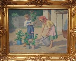 Áldor János / Virágot locsoló gyerekek