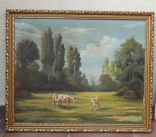 Csákváry Gyula: Legelésző tehenek, tájkép, olaj festmény, aranyos képkeret