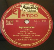 """Tempo 10"""" 78rpm sellacklemez  német gyártmányú 1953.11.13. No:1244,1245"""