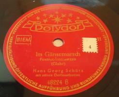 """Polydor 10"""" 78rpm sellacklemez német gyártmányú Mechan.Copt. 1935.5.6.Depositato No:12091A,12091B"""