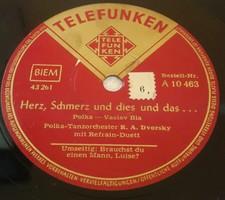 """TELEFUNKEN 10"""" 78rpm sellacklemez német gyártmányú No:43260, 43261"""