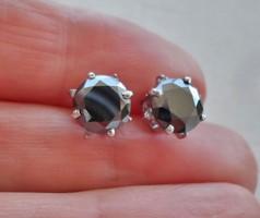 Fekete Moissanite és fehér valódi gyémántos ezüstfülbevaló Akció!!