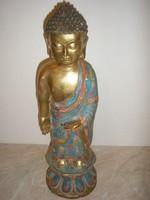 Aranyozott bronz antik buddha engóbe festéssel kuriózum