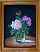 Moona Rózsák pohárban EREDETI Moona festmény