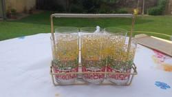Retro wine set for sale! 6 decorative glasses in metal holder