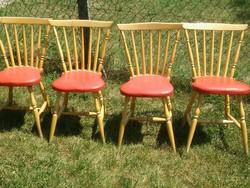 1964-es debreceni szék piros műbőr szegecselt üléssel erős fa alapon