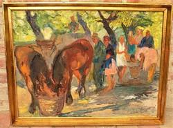 Juhász Erika (1926-2018) Nagymarosi vásár c. olaj/vászon festménye 86x66cm EREDETI GARANCIÁVAL !!!