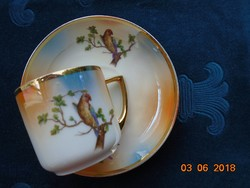 1921-Madaras,gyöngyház mázas kávés csésze alátéttel-UNION K(Klosterle)