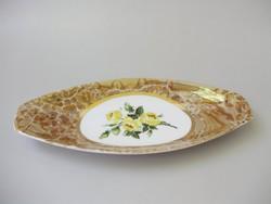 Sárgarózsás,rózsás,márvány mintás Hollóházi tálka,kínáló,asztalközép