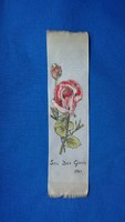 Egyházi festett selyem könyvjelző rózsa mintával 1961-ből