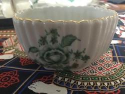 Herendi zöld nanking bouquet mintás kis cukortarto az ötvenes évekből