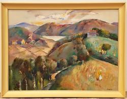 Sajó Péter ( 1909-1994) Kilátás a szőlőhegyről c. olajfestménye 86x66cm EREDETI Garancia !!