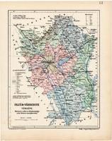 Fejér vármegye térkép 1904, megye, Nagy - Magyarország, eredeti, Kogutowicz Manó, atlasz